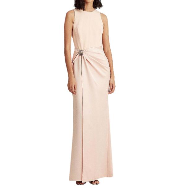 Lauren Ralph Lauren Peach Crepe/Satin Gown