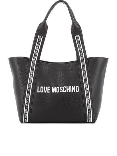 Love Moschino Logo Strap Grained Leather Tote Bag