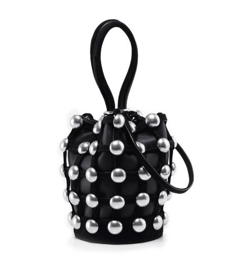 Alexander Wang Roxy Black Leather Mini Cage Bucket Bag
