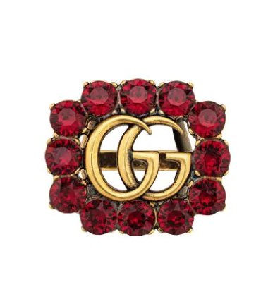 Gucci Red Crystal GG Marmont Ring - Size M