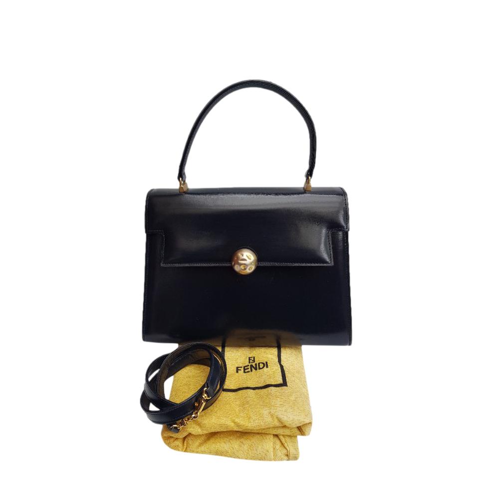 Fendi Vintage Blue Leather Top Handle Bag