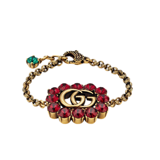 Gucci Red Crystal GG Chain Bracelet
