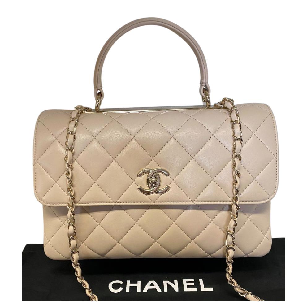 Chanel Beige Lambskin Trendy Top Handle Bag