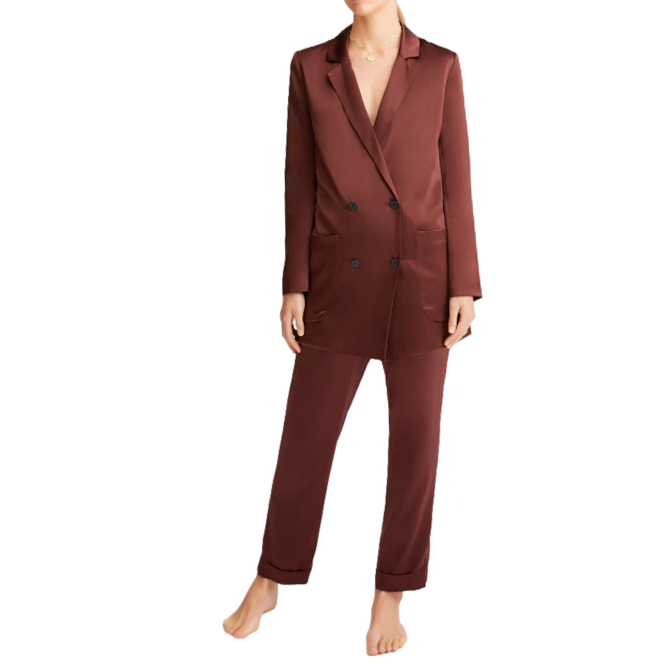 Sleeping with Jacques chocolate brown Lenny silk set