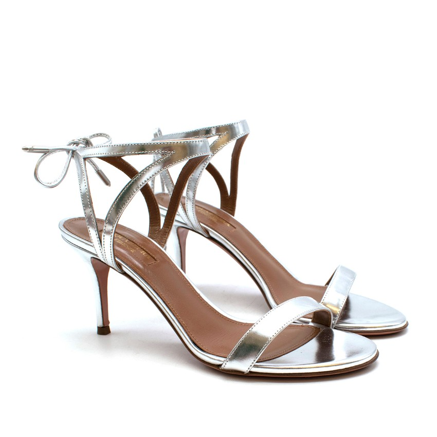 Aquazzura Silver Leather Strappy Sandals