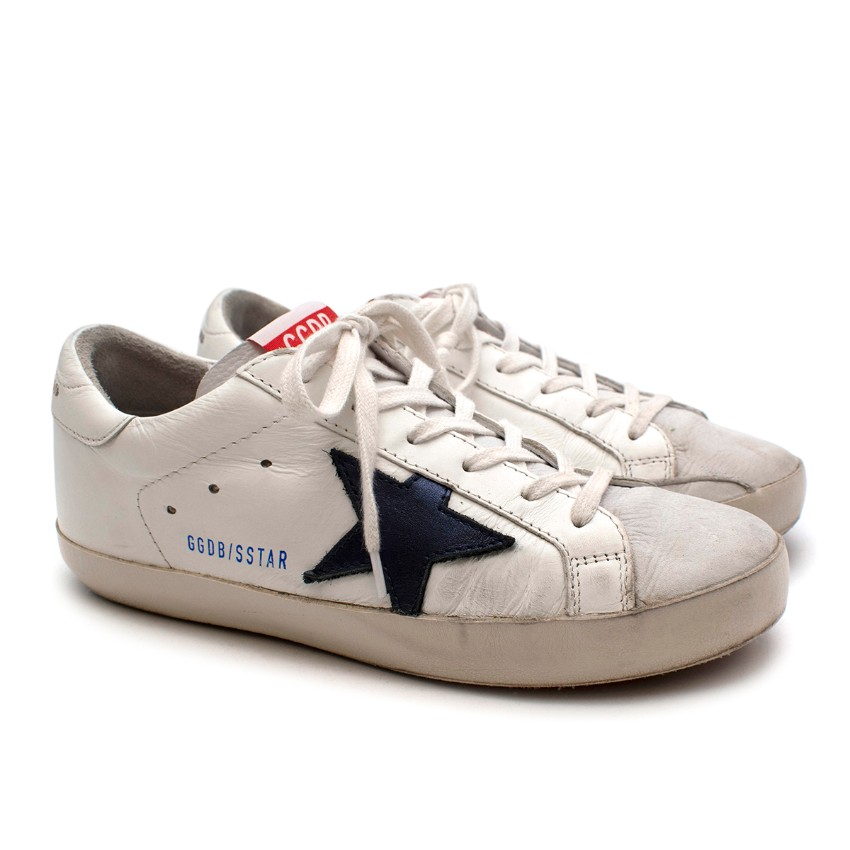 NR Golden Goose White/Navy Superstar Sneakers