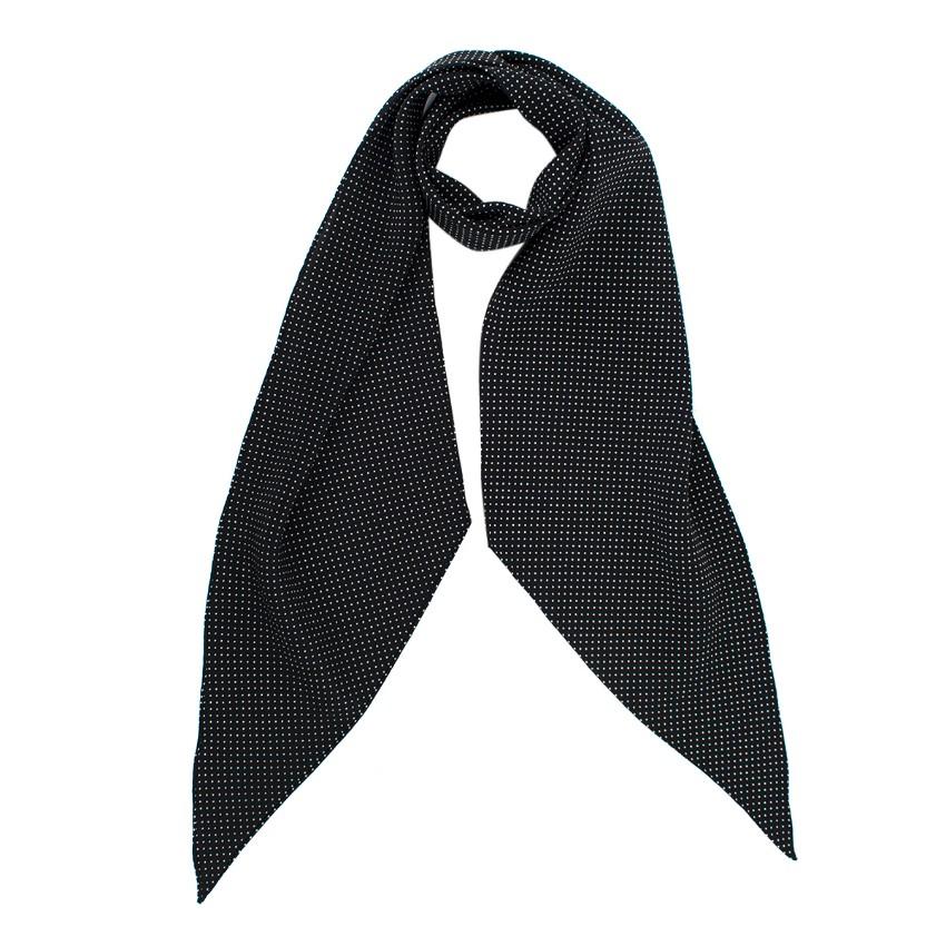 Saint Laurent Black Dotted Silk Lavalliere Beveled Scarf
