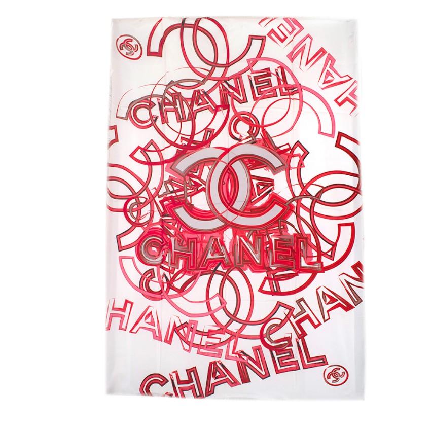 Chanel White & Red CC Logo Pattern Silk Shawl