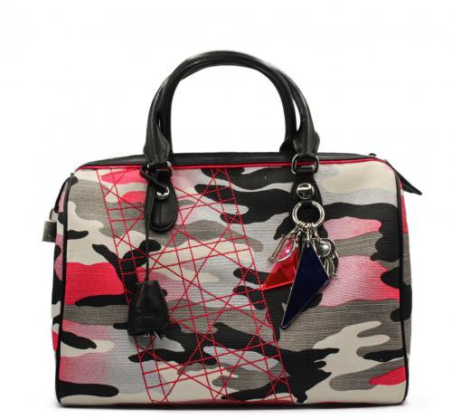 Dior Multicolour Camo Cannage Stitch Detail Boston Bag