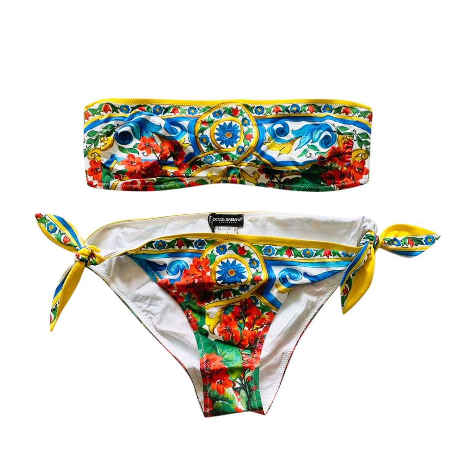 Dolce & Gabbana Majolica Print Bandea Bikini