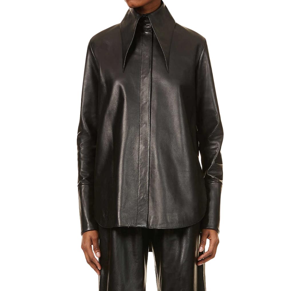16Arlington Black Seymour Point-collar Leather Shirt