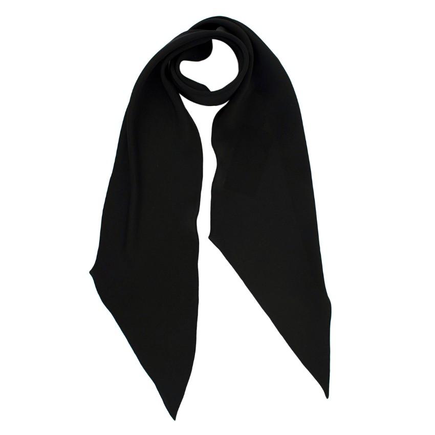 Saint Laurent Black Silk Georgette Lavalliere Beveled Scarf