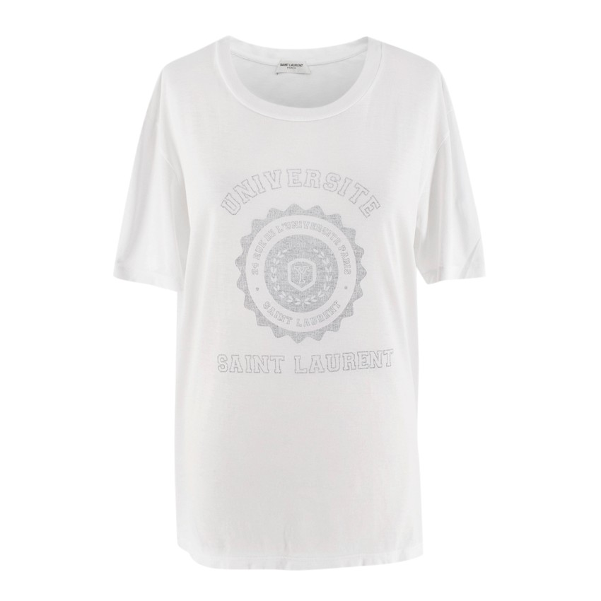Saint Laurent University Washed Logo White Tee
