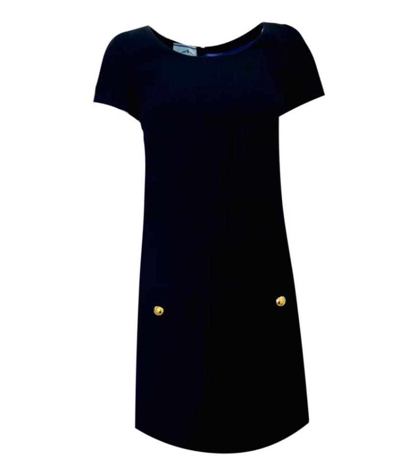 Prada Black Wool Shift Dress