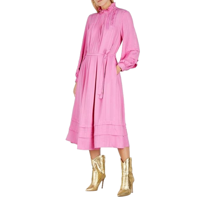 Mara Hoffman Adele Pink Striped Midi Dress