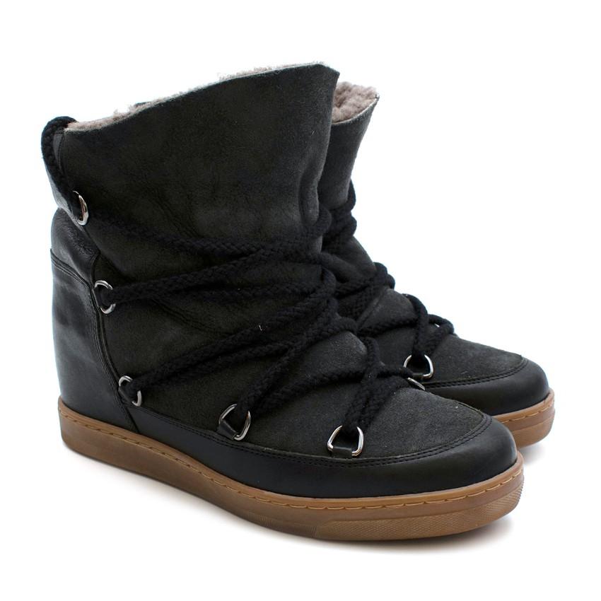 Isabel Marant Grey & Black Leather & Suede Wedge Heel Boots