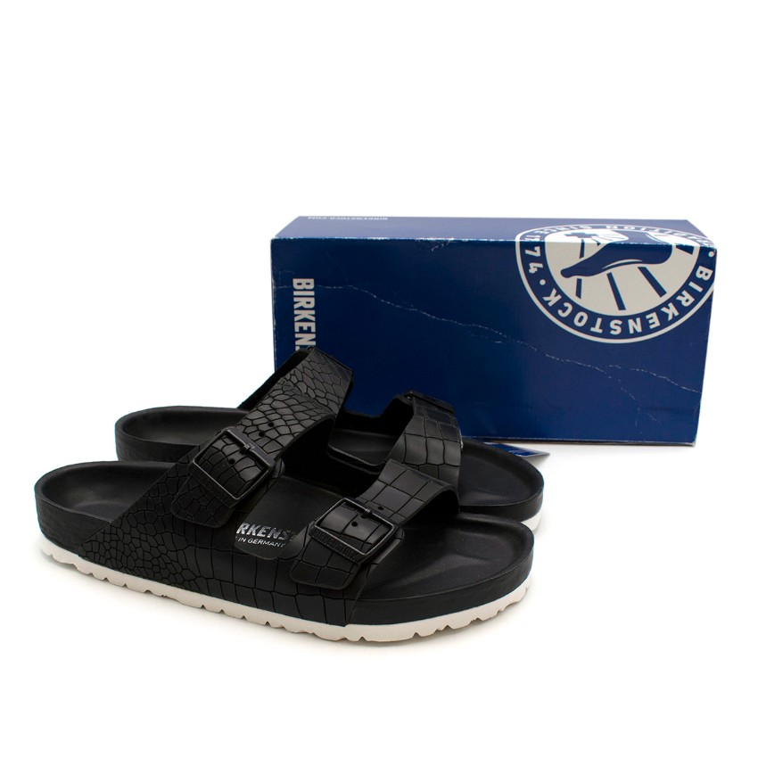 Birkenstock Black Leather Croco Arizona Sandals