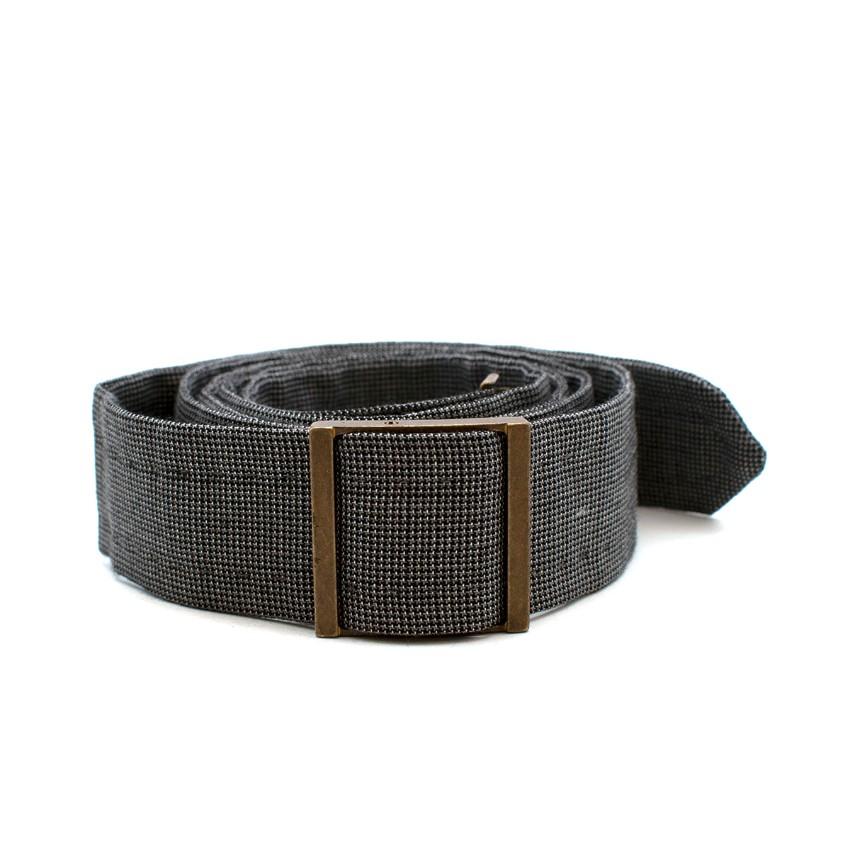 Yves Saint Laurent Grey Houndstooth Wool-blend Belt - Size 105