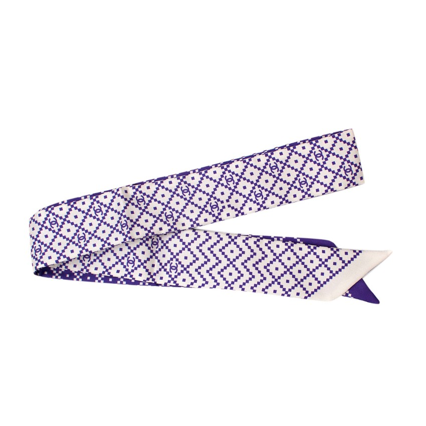 Chanel Purple & White Geometric Print CC Silk Bandeau
