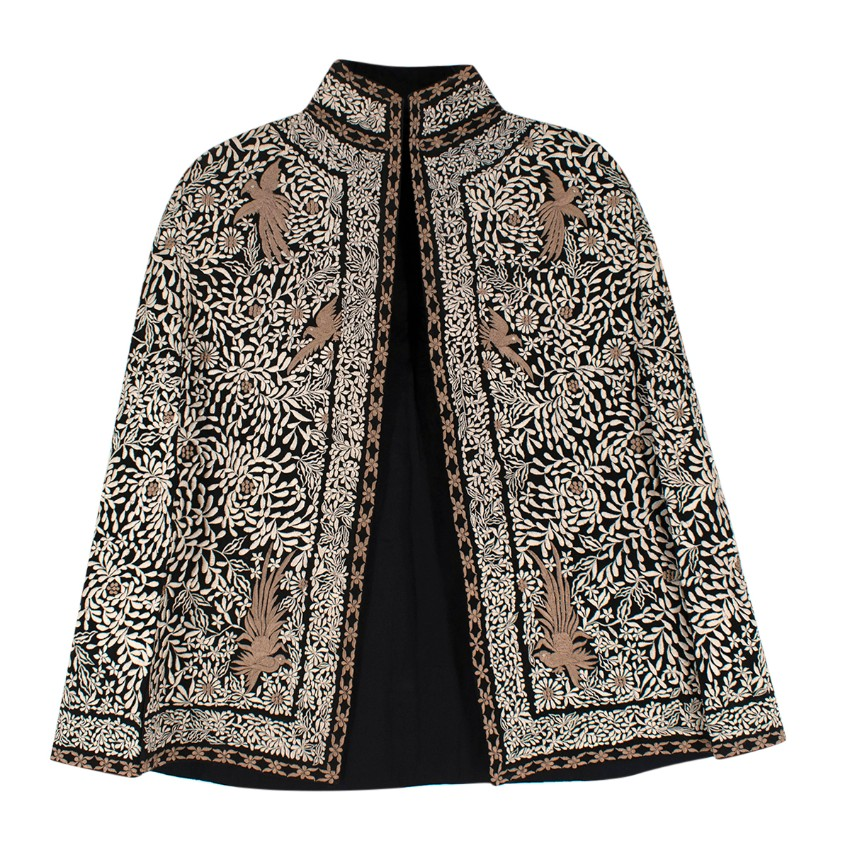 Nadya Shah Black Floral Embroidered Cape