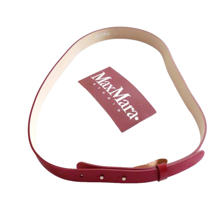 Max Mara Red Leather Skinny Belt