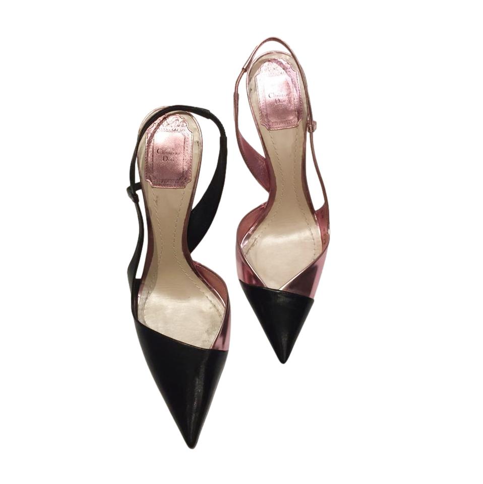 Dior Metallic Pink & Black Leather Slingbacks