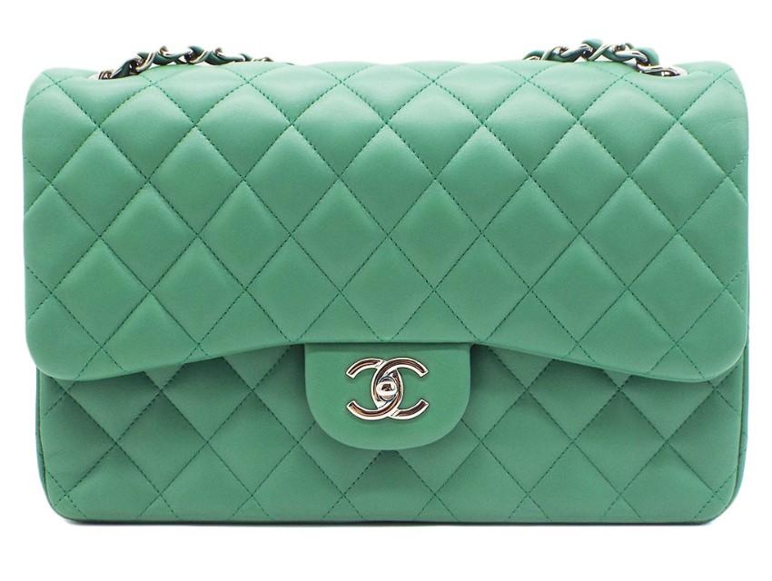 Chanel Green Lambskin Double Flap