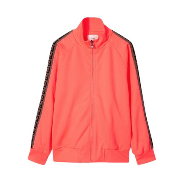Fendi Neon Coral FF Stripe Zip Jacket