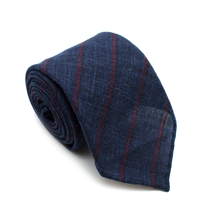Fumagalli Blue & Red Striped Linen Tie
