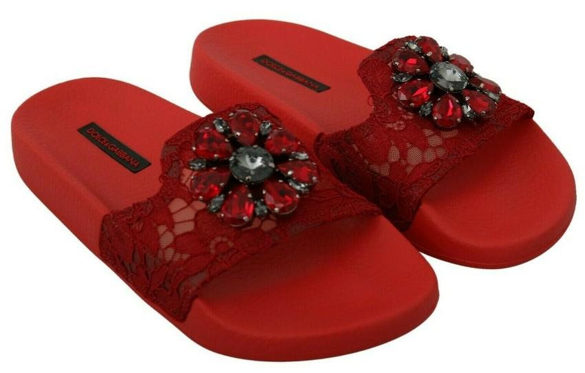 Dolce & Gabbana Red Lace Crystal Embellished Slides