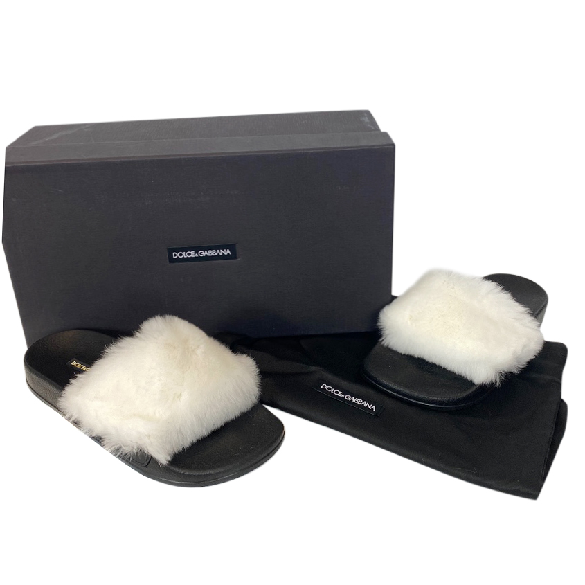 Dolce & Gabbana Rabbit Fur Slides
