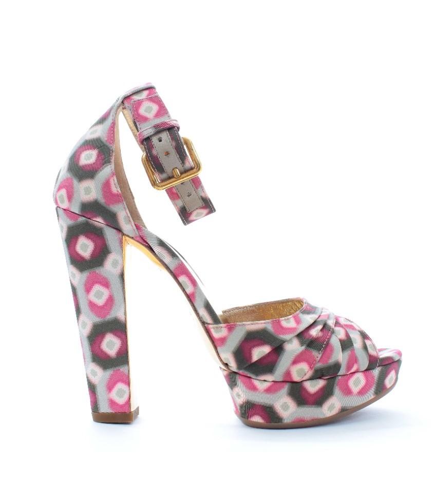 Miu Miu geometric print platform ankle strap sandals
