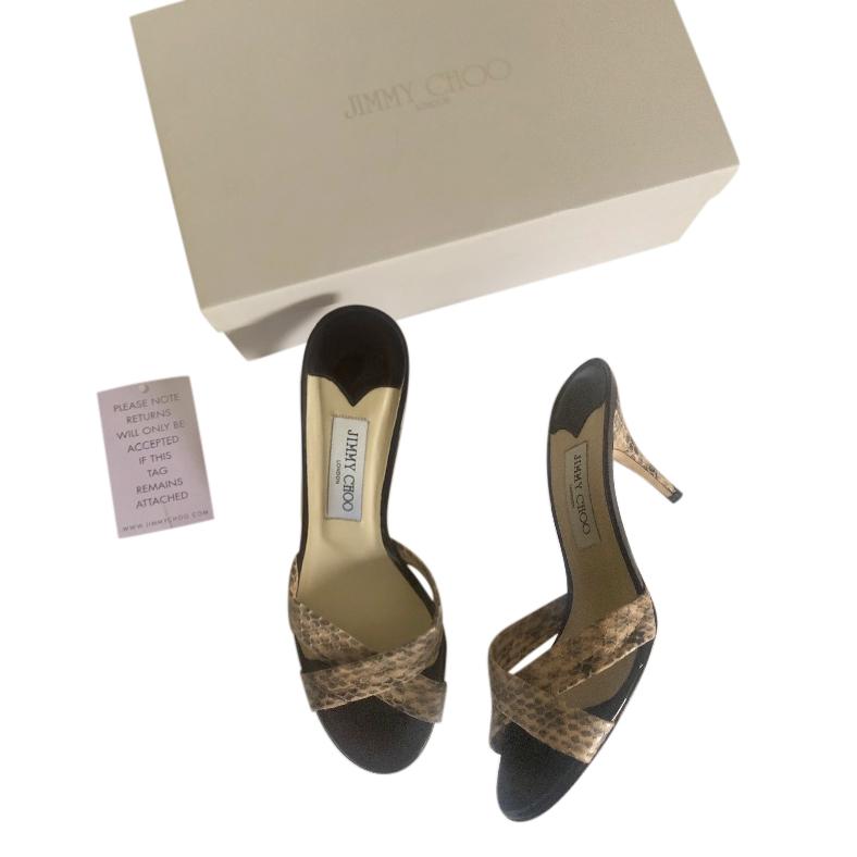 Jimmy Choo Leather & Elaphe Snakeskin Sandals