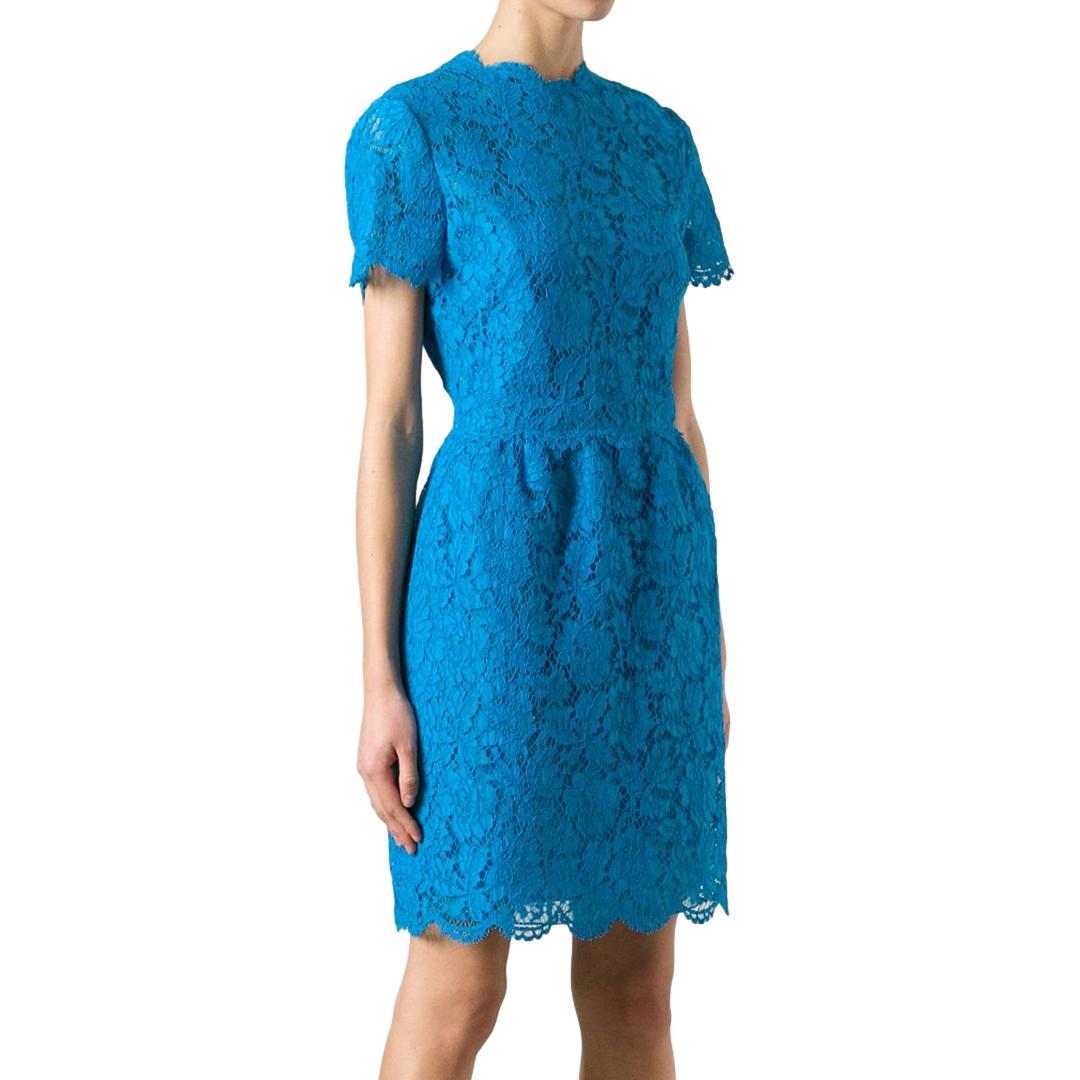 Valentino Bambolina turquoise blue lace dress