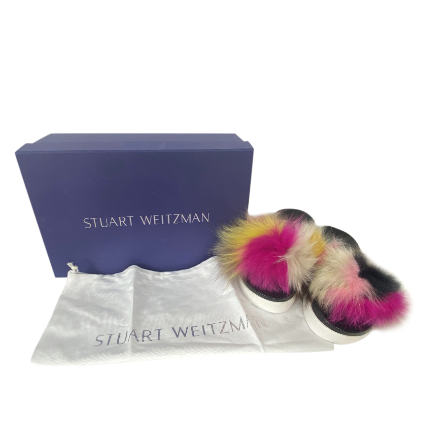 Stuart Weitzman Fox Fur Multicoloured Slides