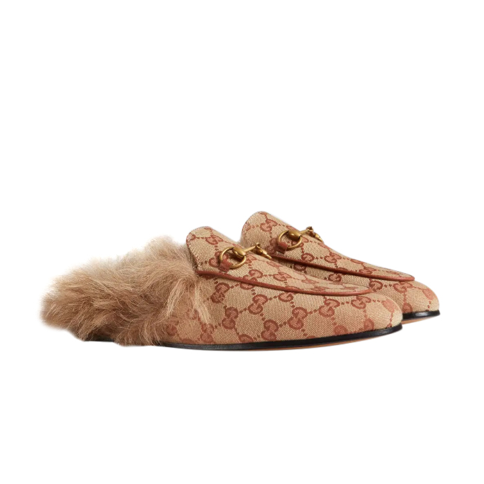 Gucci Brick Red Supreme Monogram Fur Lined Princetown Slippers