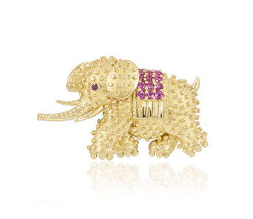 Tiffany & Co. ruby textured gold pin brooch