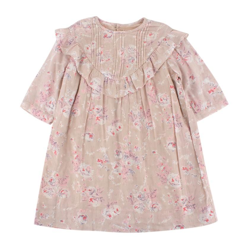 Bonpoint Pink Floral Cotton Long Sleeve Dress