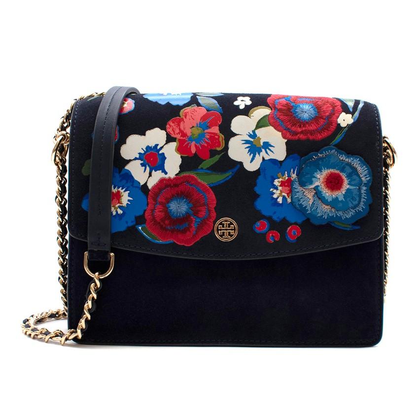 Tory Burch Navy Suede Flower Embellishment Shoulder Bag