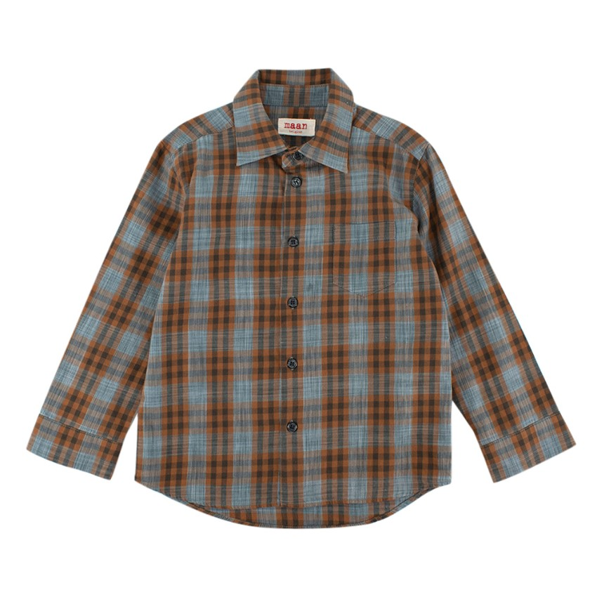 Maan Belgium Brown & Blue Checkered Cotton Long Sleeve Shirt