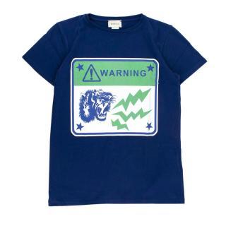 Gucci Blue Cotton Warning Print T-shirt