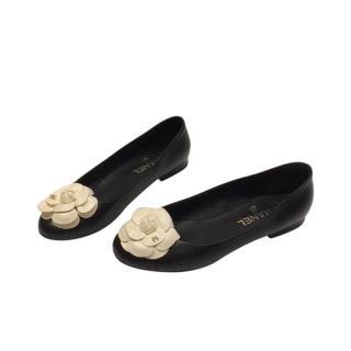 Chanel Black Camellia Applique Ballerinas