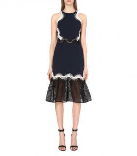 Jonathan Simkhai Blue, Black & White Cut-Out Detail Midi Dress