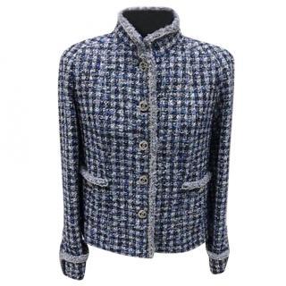 2020 Springl Blue Tweed High Neck Jacket