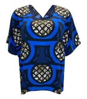 Issey Miyake Blue Printed Top