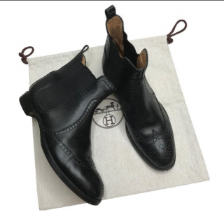 Hermes Black Leather Brighton Ankle Boots