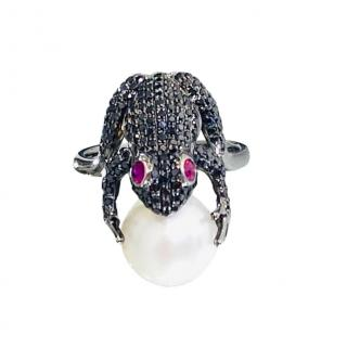 Ferini Jewels Black Diamond, Ruby & Pearl Frog Ring