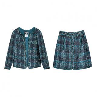 Chanel Emerald Green Tweed Embellished Skirt Suit