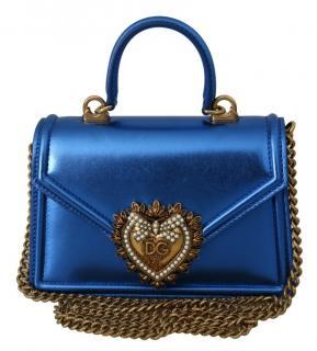 Dolce & Gabbana Blue Metallic Devotion Top Handle Bag