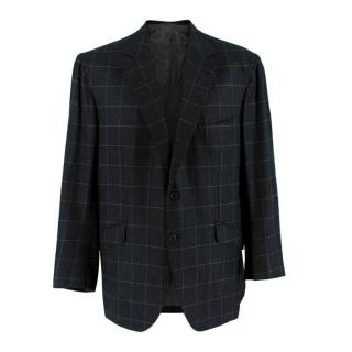 Donato Liguori navy check cashmere blend tailored suit